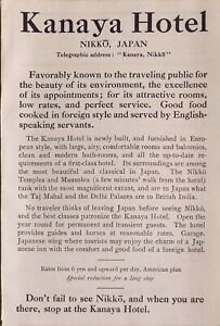 1914 JAPAN JAPANESE TOURIST ADVERT KANAYA HOTEL NIKKO AMERICAN PLAN