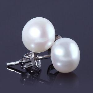Ivory White 925 Sterling Silver 7-8mm Freshwater Pearl Stud Earrings
