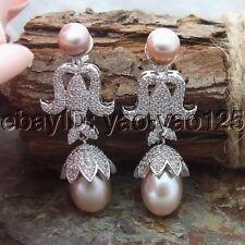H061514  Purple Pearl CZ Earrings