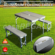 Outdoor ALUMINIUM FOLDING CAMPING TABLE AND CHAIRS PICNIC SET WITH 2 BENCH SEATS