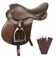 PRO ALL PURPOSE BROWN LEATHER ENGLISH HORSE SADDLE GIRTH TACK SET 16 17 18 in