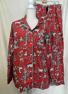 Victoria's Secret Womens Pajama Set LARGE Brushed Cotton Flannel Red Asian Tiger