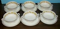 LOT OF 6 WEDGWOOD PATRICIAN GOLDEN IVY CREAM SOUP BOWLS NEVER USED FREE U S SHIP