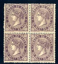 Sellos de España 1868 nº 98 violeta 50 m Bloque de Cuatro Isabel II Nuevos
