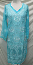 Elegance chikan full hand embroidery long   chiffon  kurta/top size S 38