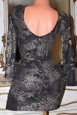 (S11) MISS SELFRIDGE Black Sparkly Elasticated Mini Dress Low Cut Back size 8
