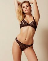 Agent Provocateur GINA BRA 34D & THONG AP Size 3/4 in BLACK TULLE & GOLD - BNWT