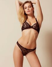 Agent Provocateur GINA BRA 36C & THONG AP Size 4 in BLACK TULLE & GOLD - BNWT