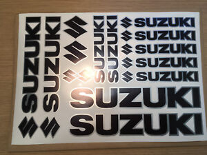SUZUKI set of Vinyl printed Stickers sheet. Black and Silver Non OEM