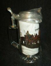 Beer Stein/Beer Mug Glass w Pewter Lid Made in Germany Bierzug Christmas Horse