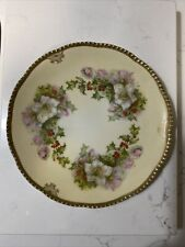 """Prussia CHRISTMAS TEA ROSE 8 1/2"""" PLATE Holly Berries & Flowers Gold"""