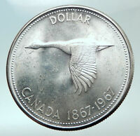 1967 CANADA CANADIAN Confederation Founding with GOOSE Silver Dollar Coin i82139
