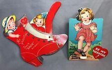 2 1940s VALENTINE MECHANICAL Skipping GIRL & SHOE Vintage Original
