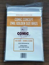 More details for 100 x golden age size comic concept comic book bags 2mil out of stock