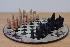 Heavy Circular Soapstone African Chess Set Handmade