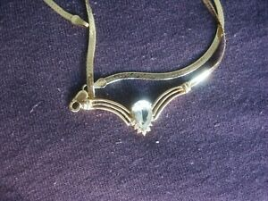 14K GOLD NECKLACE / WITH AQUAMARINE PENDANT  low starting price!!