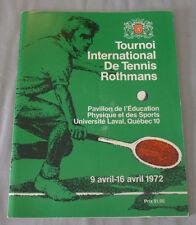 Official 1972 Quebec Rothmans International Tennis Tournament Program