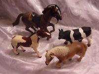 "Horse 8"" 5"" Cow 2001 Safari Limited 5"" Pinto 2004 Schleich Horse 5"" Figure"