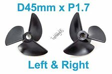1 Set D45mm 3-Blades Left&Right P1.7 RC Boat Propellers 4mm Shaft (US SELLER)