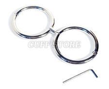 """7"""" Irish-8 Hinge Handcuffs Wrist Restraint Stainless Steel Screw Shut Cuffs"""