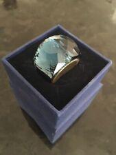 Swarovski nirvana dome crystal ring in petrol blue boxed so 58