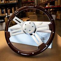"""18"""" Dark Wood Steering Wheel Chrome Riveted Kenworth Peterbilt Hub Included"""