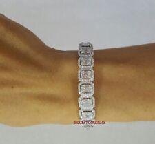 Platinum Plated Sterling Silver Ladies Bracelet Emerald Cut Diamond Bracelet