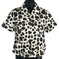 NWT LAL Cream Black & Brown Cow Print Short Sleeve Button Front Jacket Size S
