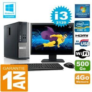 """PC DELL 390 SFF Core I3-2120 RAM 4Go Disk 500 Go Wifi W7 Screen 22 """""""