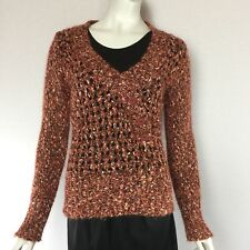 BKE Womens Pull Over Sweater Approx Size M Long Sleeve 3 Buttons Knit Soft Rust