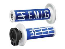 Revêtements Lock-On Odi Emig V2 Bicolores Bleu/Blanc Semi-Gaufré 4 Temps