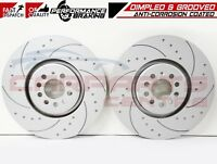 FOR VOLVO S60R V70R 2.5T FRONT CROSS DIMPLED GROOVED BRAKE DISCS PAIR 330mm