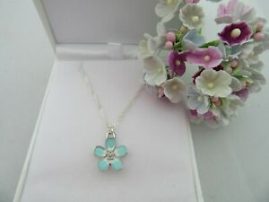 STUNNING LOSS BEREAVEMENT BABY INFANT BLUE FORGET ME NOT FLOWER PENDANT NECKLACE