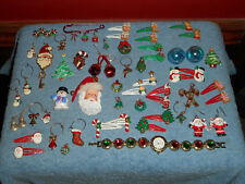 CHRISTMAS Costume Jewelry Lot 58 Pc Mixed Lot Earring, Pins, Pendants, Barrettes