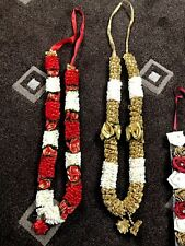 indian bollywood (asian) wedding Hajj Umrah  Flowers garland Red And Gold Beads