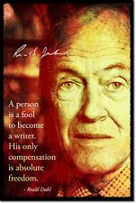 Roald Dahl Arte Foto Afiche Regalo citar escrito Escritor Autor