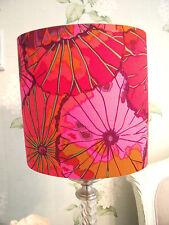 Handmade Oval Drum Lampshade Kaffe Fassett Lotus Leaf Wine Fabric 20cm
