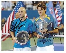 ROGER FEDERER AND ANDRE AGASSI SIGNED AUTOGRAPHED AUTO 8x10 RP PHOTO TENNIS