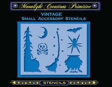 Primitive Stencil~HALLOWEEN ACCESSORY STENCILS 1300~Skull Spider Bat Moon Broom