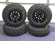 "YAMAHA BIG BEAR 350/400 25"" BEAR CLAW ATV TIRE- ITP BLACK ATV WHEEL KIT COMPLETE"