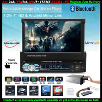 7''1 Din Car Radio SD Head Unit Touch Screen Stereo Flip Out Screen Bluetooth FM