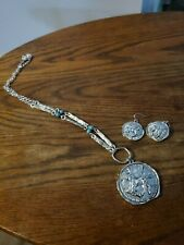 MEDALLION NECKLACE AND EARRINGS SET - FASHION JEWELRY - OLD FRIENDS - CHARITY