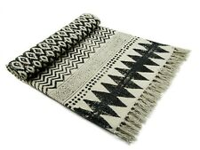 Cotton Area Runner Indian Handmade Floor Carpet Beach Hand Block Dari Black Mats