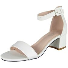 Womens Ankle Strap Shoes Ladies Shiny Party Buckle Chunky Low Heel Sandals Size White UK 6 / EU 39 / US 8