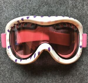 Cute Polar Edge Women's Snow Goggles Pink With Hearts And Carrying Bag H