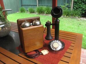 Australian PMG Candlestick Telephone with Walnut Wooden Bellset c.1920's