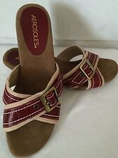 Areosoles Womens Size 6.5 Strap Red Beige Slip On Buckle Sandals Heels Shoes