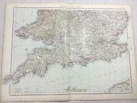 1899 Antik Map Of England Und Wales South Coast Alte 19th Jahrhundert Original