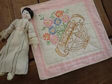 Vintage Pink & Cream Embroidered Flower Basket Table Doll Quilt 10x10