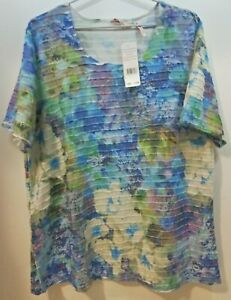 WOMENS S/S TEXTURED TOP BNWT'S - MILLERS/EMERALD FLORAL/SIZE 18